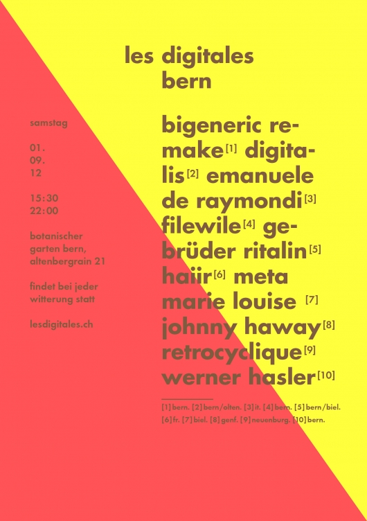 release Line-up Les Digitales Bern 2012